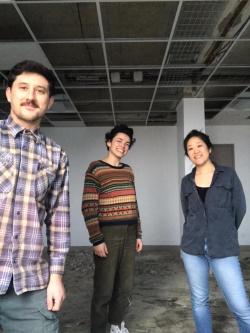 Quentin Cabanes, Angélique Chesnesec et Shoko Tsuji, lors de leur installation à l'incubateur